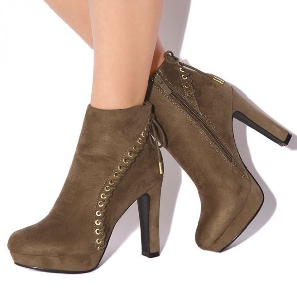 Women's Brown Lace Up Vintage Boots Almond Toe Commuting Ankle Boots image 1