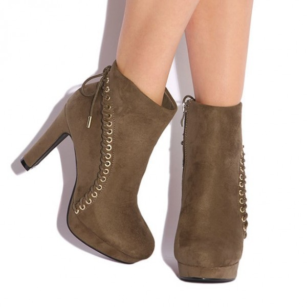 Women's Brown Lace Up Vintage Boots Almond Toe Commuting Ankle Boots image 2