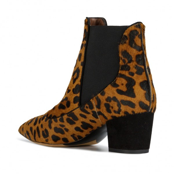 Leopard Booties Pointy Toe Block Heel Haircalf Chelsea Booots image 2