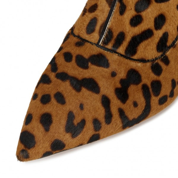 Leopard Booties Pointy Toe Block Heel Haircalf Chelsea Booots image 3