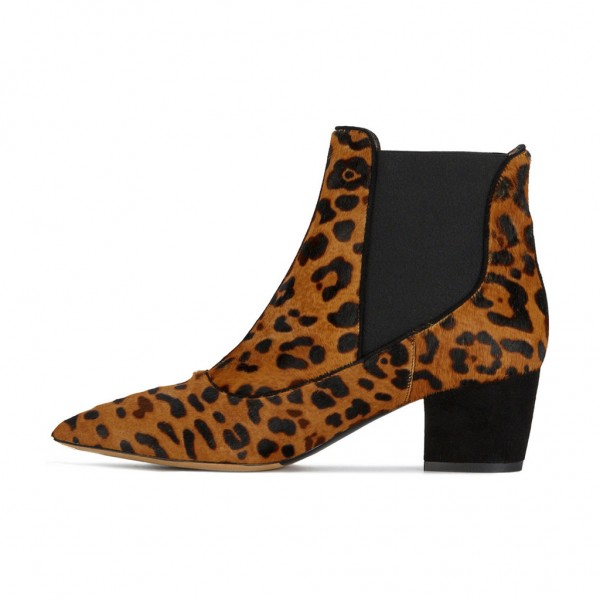 Leopard Booties Pointy Toe Block Heel Haircalf Chelsea Booots image 4