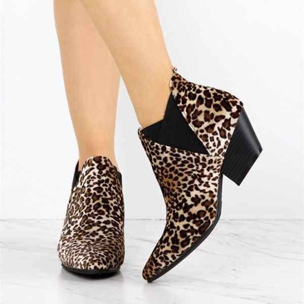 Brown Leopard Print Fashion Boots Chunky Heel Ankle Booties image 2
