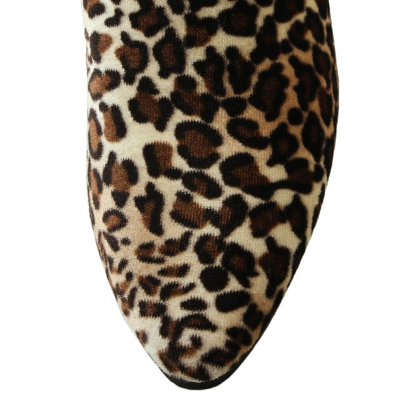 Brown Leopard Print Fashion Boots Chunky Heel Ankle Booties image 3