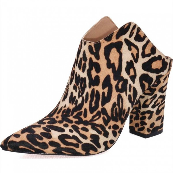 Women's Brown Leopard Print Mule Pointed Toe Block Heels Pumps image 1