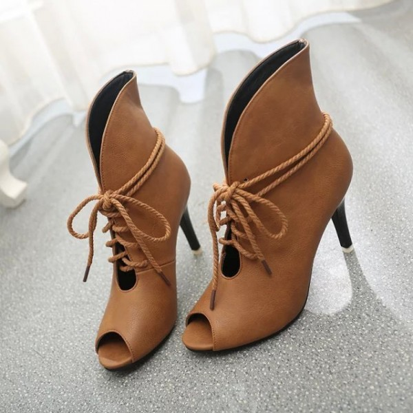 Women's Brown Peep Toe Lace Up Boots Ankle strap Heels Boots image 2
