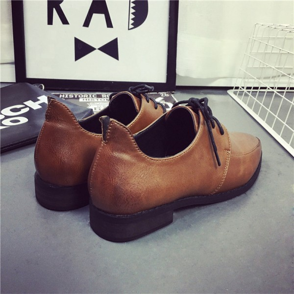 Women's Brown Pointed Toe Lace Up Commuting Vintage Shoes image 4
