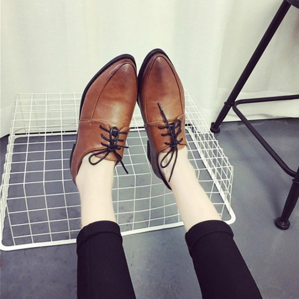 Women's Brown Pointed Toe Lace Up Commuting Vintage Shoes image 2