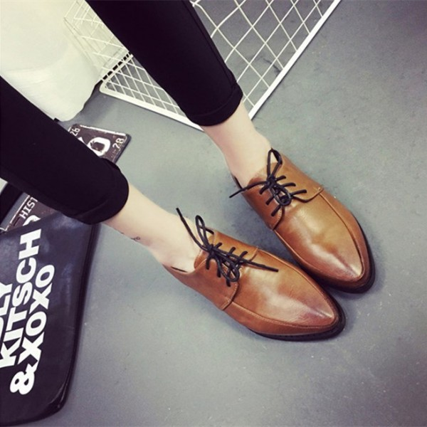 Women's Brown Pointed Toe Lace Up Commuting Vintage Shoes image 3