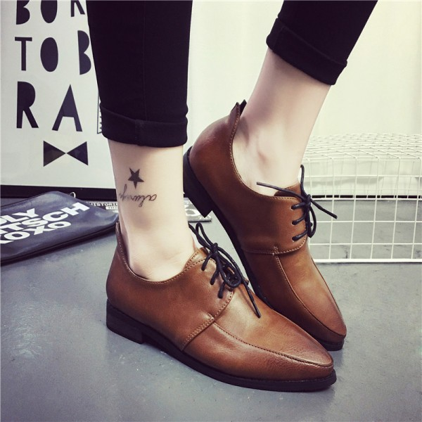 Women's Brown Pointed Toe Lace Up Commuting Vintage Shoes image 5