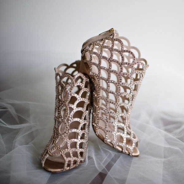 Women's Nude Rhinestone Stiletto Heels Cage Bridal Sandals image 1