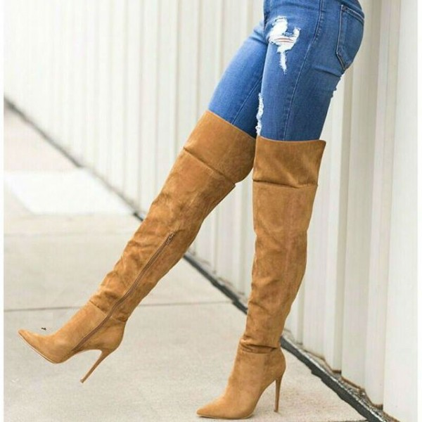 c04d3931526 Tan Wide Calf Boots Pointy Toe Stiletto Heel Suede Thigh High Boots