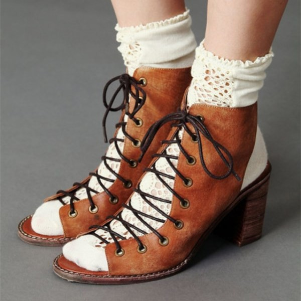 Women's Brown Vintage Shoes Chunky Heels Peep Toe Lace Up Ankle Boots image 1