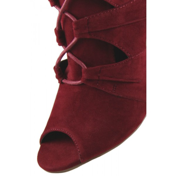 Women's Burgundy Lace Up Peep Toe Suede Hollow Out Chunky Heel Boots  image 3