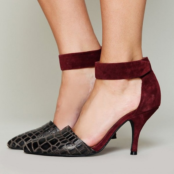 Women's Burgundy Stiletto Heels Suede python Shoes Pointy Toe Pumps image 1