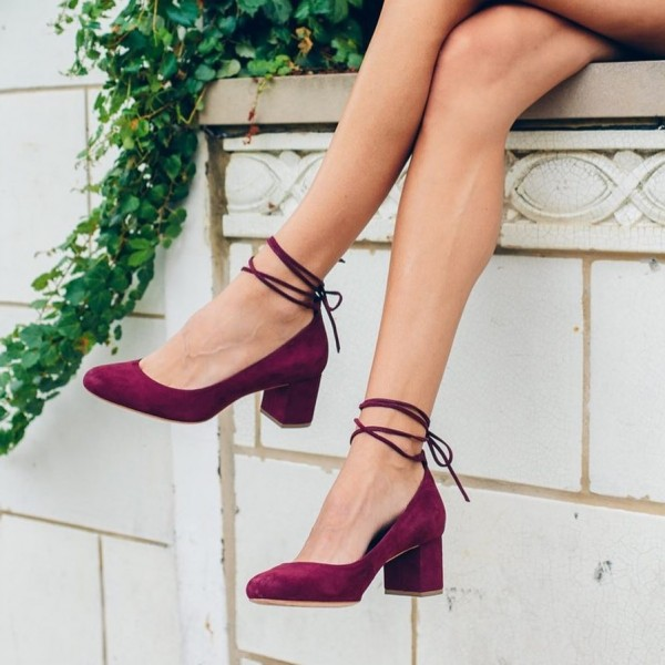 Burgundy Heels Strappy Suede Block Heel Pumps US Size 3-15 image 1