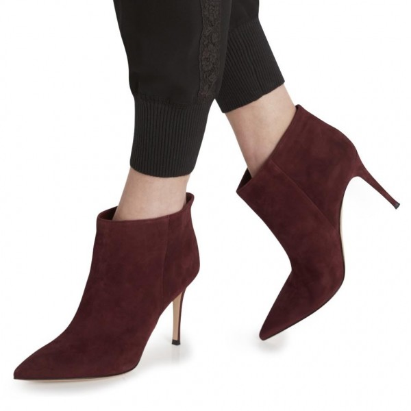 Women's Burgundy Suede Stiletto Boots Pointy Toe Ankle Boots by FSJ image 1