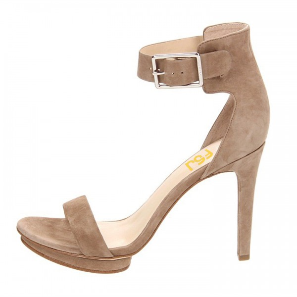 Women's Camel Suede Buckle Stiletto Heel Ankle Strap Sandals image 2