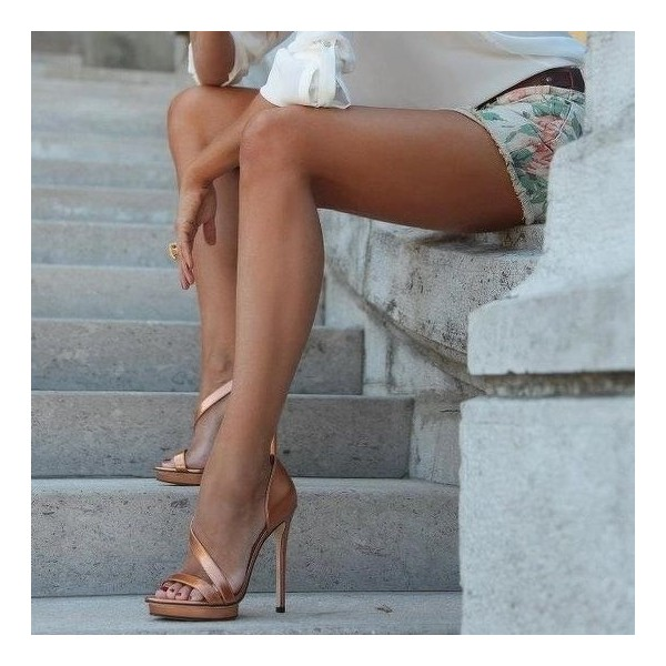 Rose Gold Shoes Open Toe Stiletto Heels Platform Sandals image 1