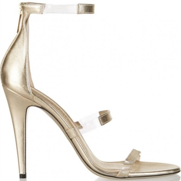 Women's Champagne Tri-Straps Clear Stiletto Heels Sandals image 2