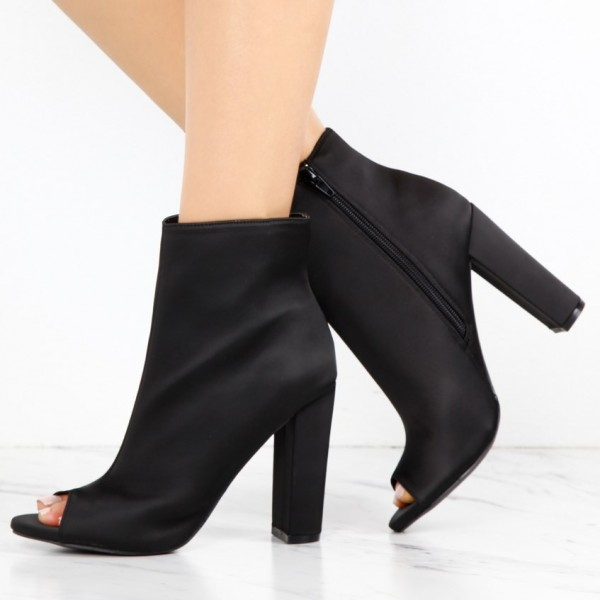 Women's Classical Black Chunky Heel Boots Zip Peep Toe Ankle Boots image 1