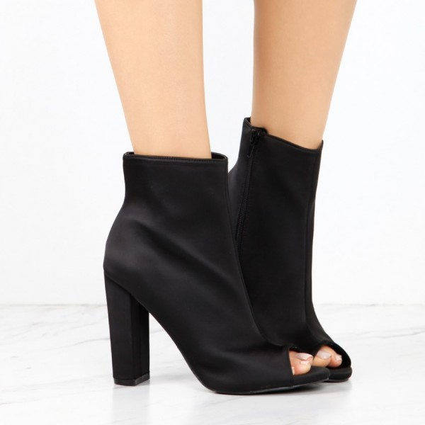 Women's Classical Black Chunky Heel Boots Zip Peep Toe Ankle Boots image 2