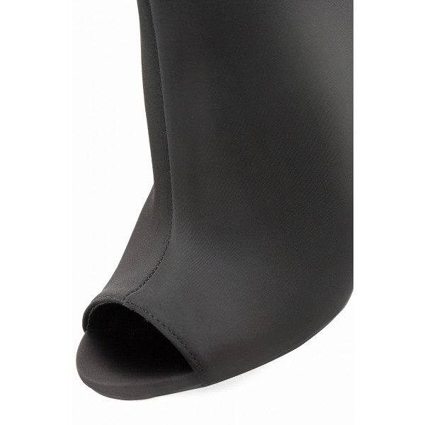 Women's Classical Black Chunky Heel Boots Zip Peep Toe Ankle Boots image 3