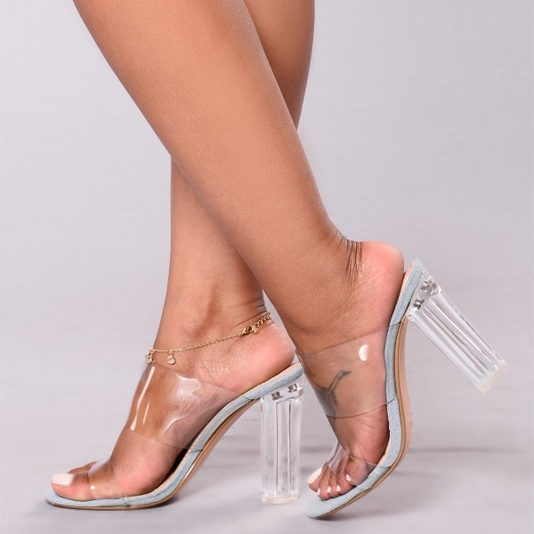 Women's Clear Cut Out Open Toe Mule Chunky Sandals image 2