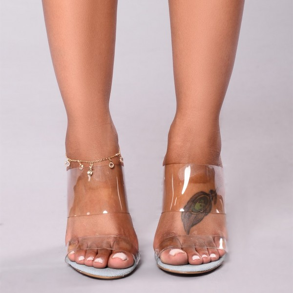 Women's Clear Cut Out Open Toe Mule Chunky Sandals image 3