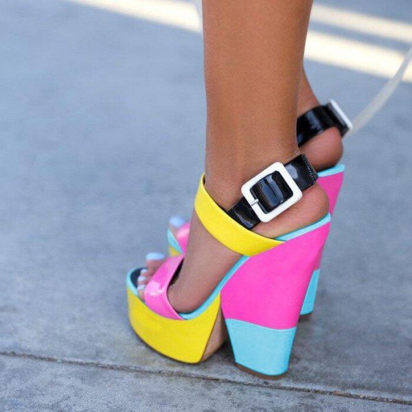 Women's Colorful Slingback Buckle Platform Chunky Heel Sandals image 1