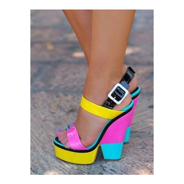 Women's Colorful Slingback Buckle Platform Chunky Heel Sandals image 2