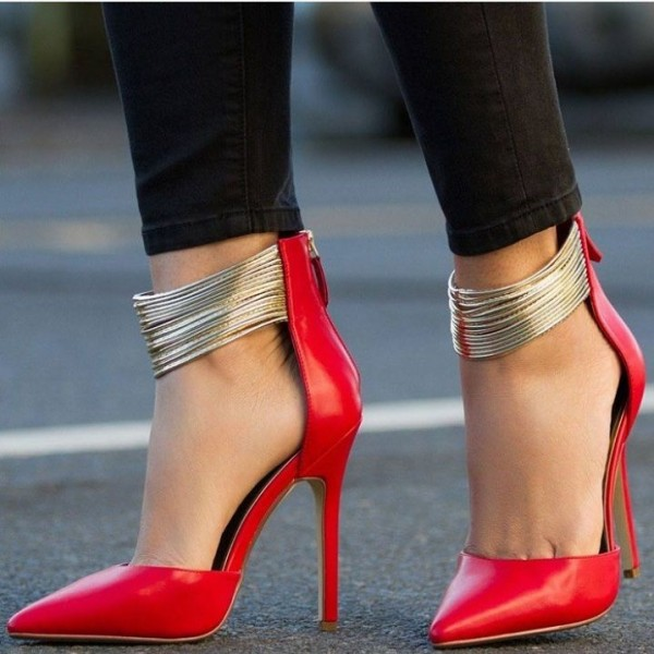 Coral Red Gold Ankle Strap Heels Pointed Toe Stiletto Heels Pumps image 2