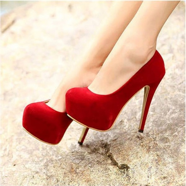 Red Wide Width Heels Suede Chunky Heel Closed Toe Platform Pumps image 1