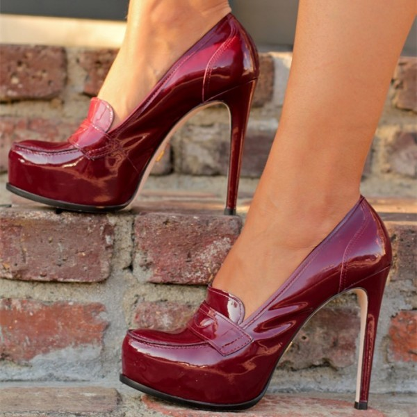 Burgundy Patent Leather Platform Stiletto Heeled Loafers for Women image 1  ...