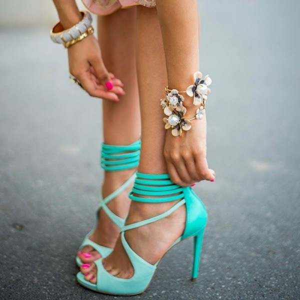 Women's Cyan Cross Ankle Strap Sandals Peep Toe Stiletto Heels image 1
