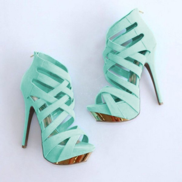 Women's Cyan Open Toe Back Zipper Hollow Out Stiletto Heels Sandals image 1
