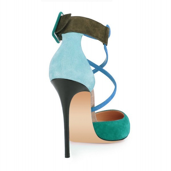 Teal Shoes Suede Cross over Strap Closed Toe Sandals by FSJ image 3