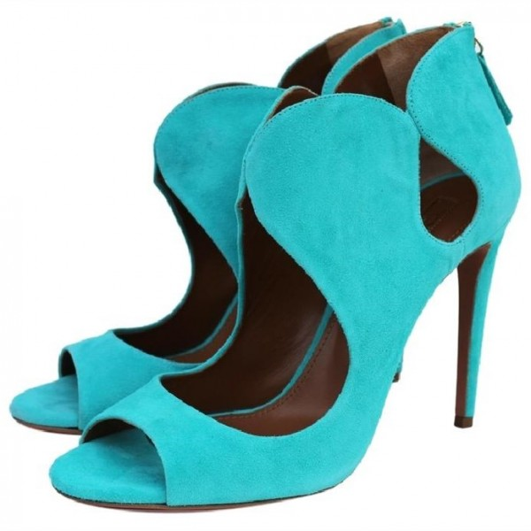 Women's Cyan Stiletto Heels Dress Shoes Peep Toe Heels Sandals image 1