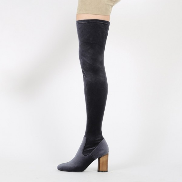 Dark Grey Long Boots Block Heel Velvet Sexy Thigh High Boots image 2