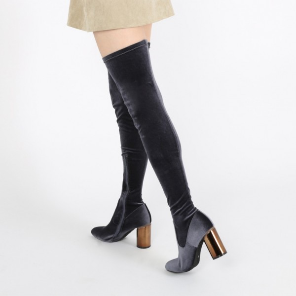 Dark Grey Long Boots Block Heel Velvet Sexy Thigh High Boots image 1