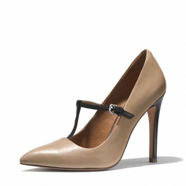 Women's Dark Nude Stiletto Heels T-Strap Heels Pointy Toe Office Heels image 1