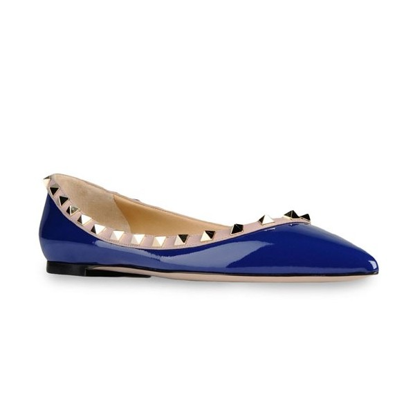 Blue Patent Leather Pointy Toe Flats Rock Studs Trendy Shoes image 4