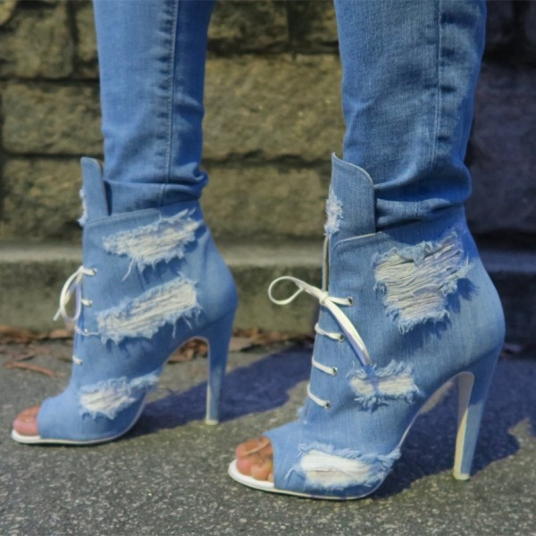 Women's Denim Boots Stiletto Heels Peep Toe Heels Ankle Booties image 1