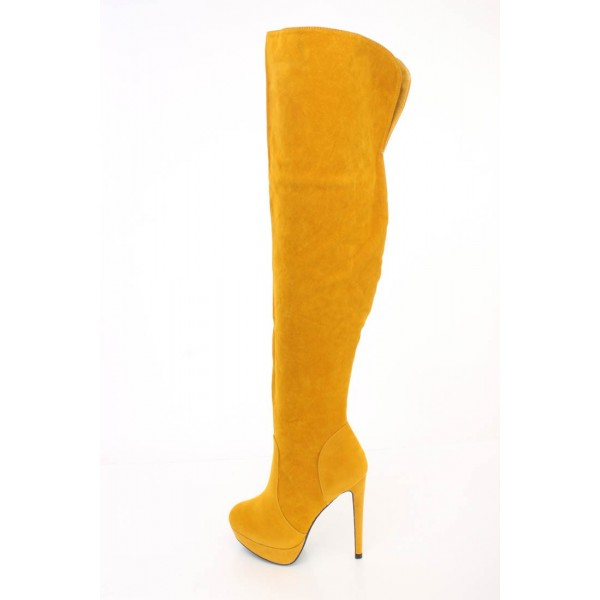 Mustard Tall Boots Suede Platform Over Knee Long Boots image 1