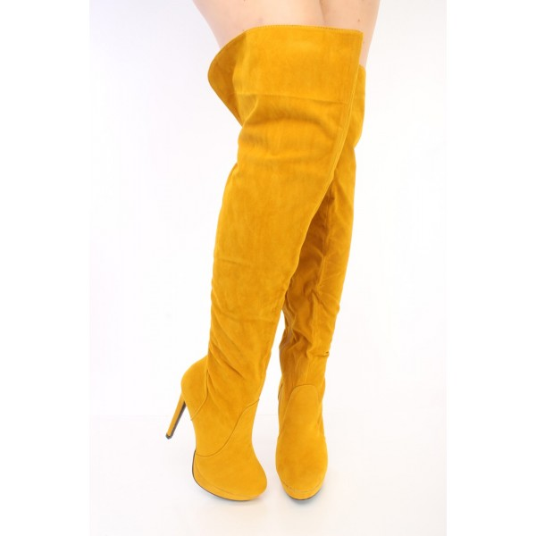 Mustard Tall Boots Suede Platform Over Knee Long Boots image 2