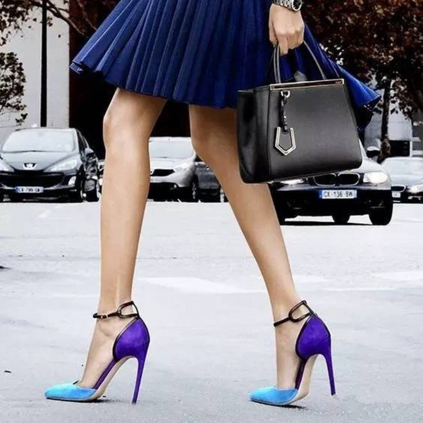 Esther Blue Ankle Strap Heels Pointy Toe D'orsay Pumps for Women image 1