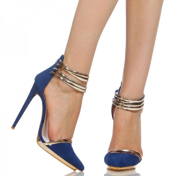Cobalt Blue Shoes Metal Ankle Strap Stiletto Heel Closed Toe Sandals  image 3