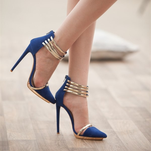 Cobalt Blue Shoes Metal Ankle Strap Stiletto Heel Closed Toe Sandals  image 2