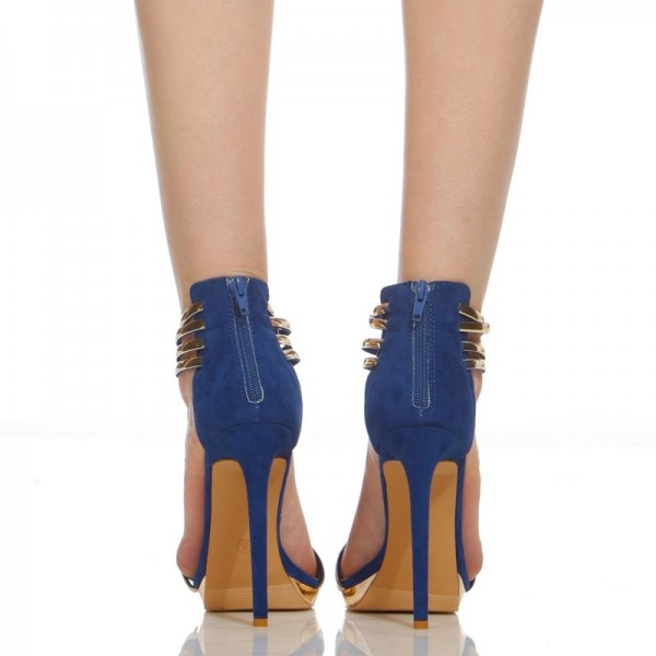 Cobalt Blue Shoes Metal Stiletto Heel Closed Toe Sandals image 2