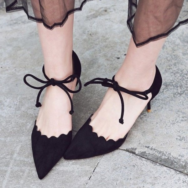 Black Suede Lace up Heels Pointy Toe
