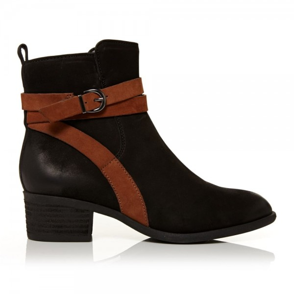 Women's Fashion Black Comfortable Shoes Almond Toe Buckle Ankle Boots image 2